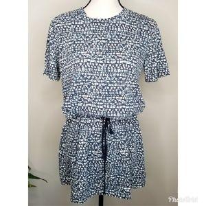 Tory Burch Drawstring Waist Short Sleeve Tunic Top